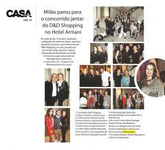 Patricia Aguiar em Milão, no jantar de premiação do Shopping D&D.